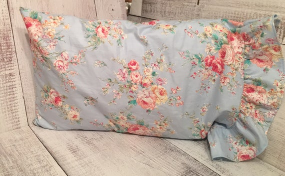 Shabby Chic Woodrose Pillowcases : Items similar to Blue Floral Shabby Chic Pillowcase / Bedding Pillowcases / Shabby Chic ...