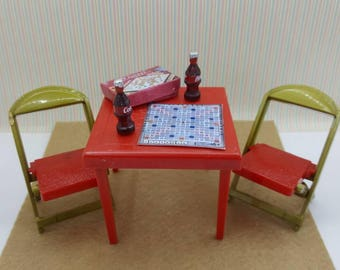 Renwal Card and Games Table and  Folding Chairs  Toy Furniture Doll House  Card table Red and gold Hard Plastic