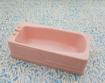 Marx Soft Plastic French Provencal Bathroom Tub Toy Dollhouse pink