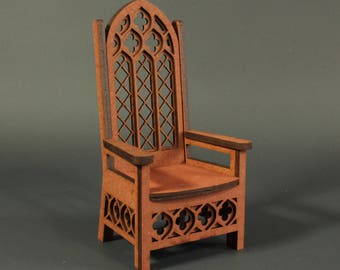 miniature throne 1:12 scale, twelfth scale, majestic, regal, royal, gothic dolls chair (ready-assembled)
