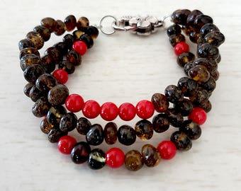 NATURAL BALTIC AMBER Adult Bracelet with Red Jade Gemstones