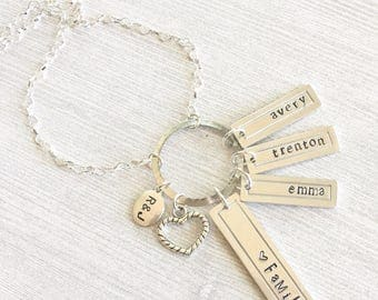 Personalized Hand Stamped Family Mothers Necklace