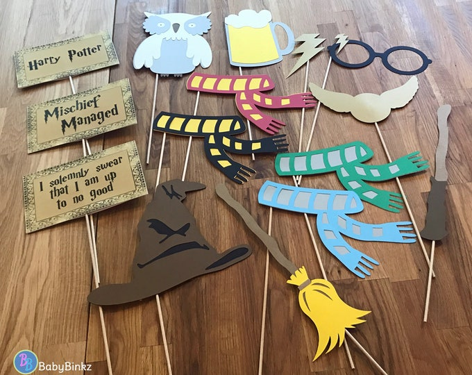 Photo Props: The Large Harry Potter Inspired Set (15 Pieces) - party wedding birthday die cut lightening bolt scar house scarf wizard