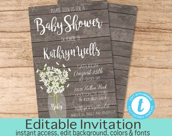 Rustic Baby Shower invitation, Editable Baby Shower Invitation, Gender Neutral Baby Shower Invitation, Instant Download
