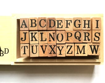 alphabet rubber stamp set with wooden box. uppercase letter stamps. japanese rubber stamps. planner stamps. size L. set of 26 letters