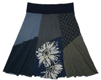 Daisy Boho Hippie Skirt Women's Large XL Size 12 14 Skirt Upcycled Skirt recycled repurposed t-shirt skirt Twinkle Skirts Twinklewear