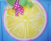 Lemon Door Hanger-door decor lemon summer door hanger lemon slice monogram lemonade party summer party birthday door hanger lemonade stand