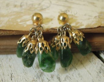 Vintage Drop / Dangle Green Jade Earrings with Snap Back Clasp