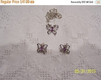 TWICE A YEAR, 25% Off Vintage Butterflies Pendant and earrings set. Sterling silver.