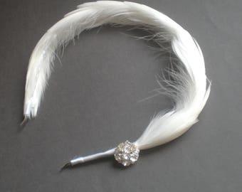 Chic Feather Bridal BLUSHER Veil. Mini Birdcage Feather Headband. Elegant Bandeau White Feather Bridal Veil.  Prom. Snow White Bridal Veil.