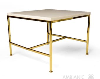 Mid Century Modern Brass Side Table with Milk Glass Top, After Paul McCobb