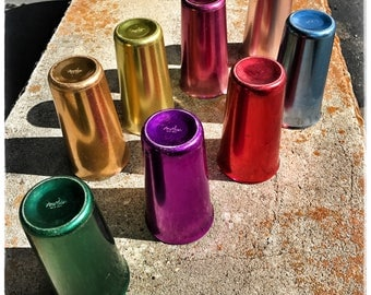 Vintage Norben ware bright colors aluminum 1960s eight tumblers