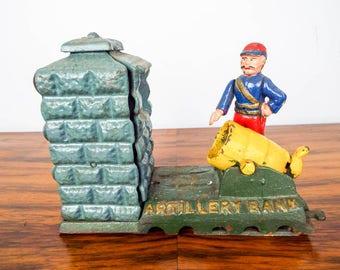Vintage Cast Iron Working Mechanical Artillery Money Bank, Unique Jungle Animal Nursery Decor, Coin Savings Piggy Box, Blue Stocking Fillers