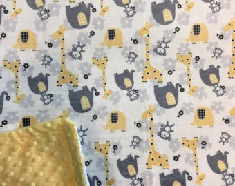 Minky Blanket Jungle Print Minky with Yellow Dimple Dot Minky Backing Blanket - gender neutral gift