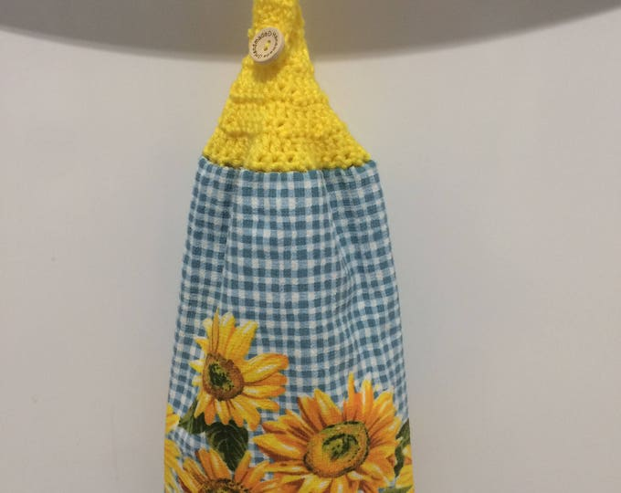 Sunflower Hanging Kitchen Towel, Kitchen Towel, Hanging Towel, Hanging Kitchen Towel
