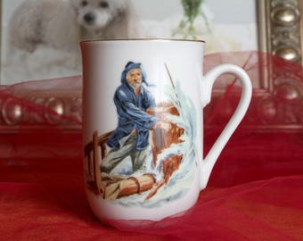 Collectible Coffee Cup Norman Rockwell, Braving the Sea, Fisherman Collectible 1986 Museum Collections Inc.