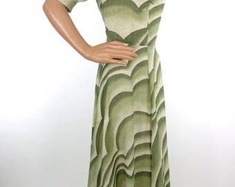 Stunning 70s Does 30s Biba Style Deco Style Green Maxi Dress With Abstract Cloud Detail In Size Small