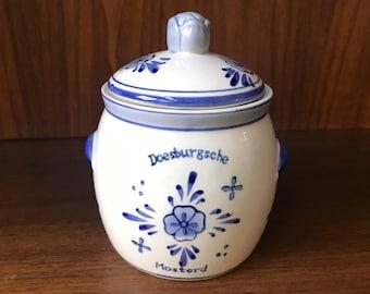 Vintage handpainted, genuine Delft Blue Mustard Jar with Lid, Dutch, Delft ceramic pottery, Doesburgsche Mosterd, Holland, Netherlands