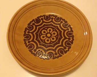 3 x Vintage 1970s brown side plates with retro flower pattern