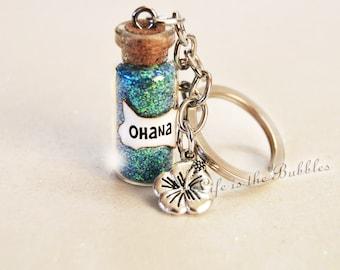Ohana Keychain with a Flower Charm, Ohana Means Family, Lilo Stitch, Ohana Key Chain, Moana Jewelry, Hawaiian Keychain, Ohana Jewelry