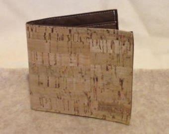Natural CORK Wallet - Bi-fold - Natural Bamboo Pattern - Vegan