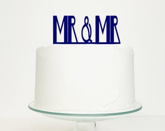 S A L E 'Mr & Mr' Gay Wedding Cake Topper in Navy