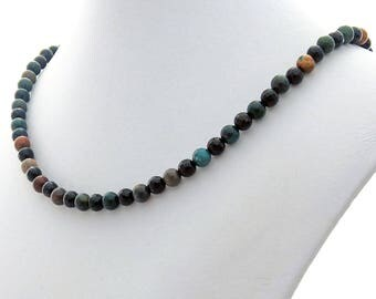 Indian Agate Black Onyx Natural Stone Necklace