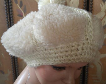 60s cream woolly pom pom beret made in Japan