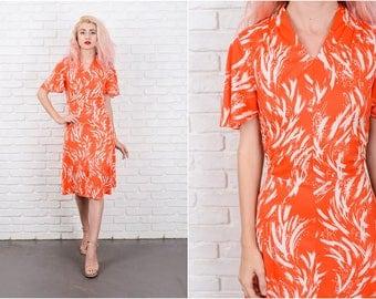 Vintage 70s Mod A Line Dress Flutter Angel Sleeve Orange Small S 9722