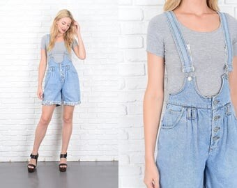 Vintage 90s Denim Jumper Dress Romper Overalls Suspenders Southwestern S M 10155