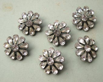 Vintage Very Large Clear Rhinestone Flower Buttons 30mm Silvertone Settings with :Loop Shanks (6)