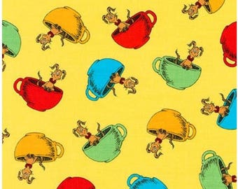 Dr. Seuss Hop on Pop in Tea Cups on Yellow From Robert Kaufman's Hop on Pop Collection by Seuss Enterprises