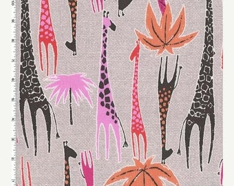 """SUMMER SALE Fat Quarter (18""""x22"""") ONLY - Pink Giraffes from Michael Miller's Migration Collection"""