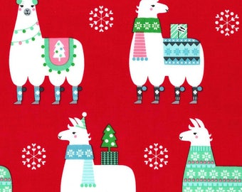 Llama Navidad on Red from Michael Miller Fabric - Christmas Fabrics