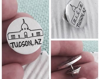 Tucson Temple Pin - Hand Stamped LDS Jewelry