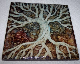 Beautiful decorative tile painted with alcohol inks