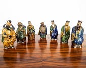 Antique Set of 7 Chinese Mud Man Figurines Vintage Ceramic Mudmen Clay Statues, Asian Home Decor Decorations, Small Figurines Chinese Men