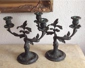 Sale Antique Bronze Two Arm Floral Candelabras Candlestick Holders Italy Home Decor