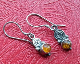 Dainty vintage sterling silver dangle earrings and citrine colored lucite