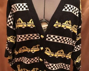 Vintage 1980s 1990s One Step Up Novelty Taxi Cab Buttons Cardigan Sweater