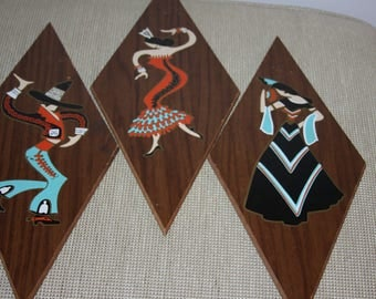 Mid Century Spanish Flamenco Dancers - Turner Diamond Plaques - Wall Hangings