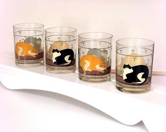 80s WARREN KIMBLE Cocktail Glasses - Folk Art - Encircled with Tuxedo & Tabby Cats on Braided Rugs - Set of 4