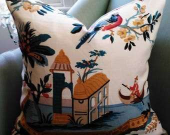 Brunschwig & Fils Le Lac Chinoiserie 20 Inch Pillow Cushion Cover