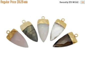 15% off Christmas in July Fancy Petite Gemstone Spear Pendant with Electroplated 24k Gold Cap and Bail (S114B12)