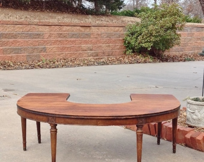 """ON SALE COFFEE Table Half Circle - Drop Leaf Sides - Antique - 48"""" Wide - To Be Painted In Your Color - The Shabby Chic Furniture - Farmhous"""