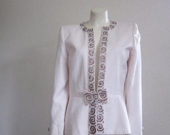 80s Jacket / Beaded Jacket / Nolan Miller / Wedding Jacket / Mother of the Bride / Dynasty / Evening / Cream / Glam / Designer / Bow / Diva