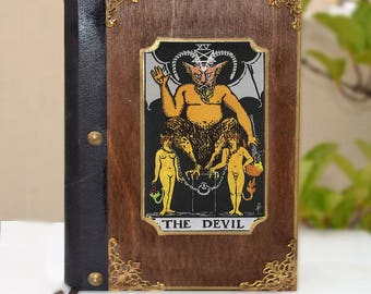 Leather book, Book of shadows, tarot card, tarot art, fortune teller, illustration journal, tarot print,Devil Book,Dark themed journal