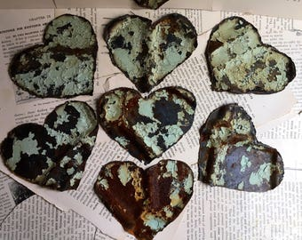 "Hand Cut Heart Shaped Ceiling Tin 4.5"" - veteran made, salvage, tin tile"