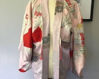 Vintage silk japanese haori kimono jacket with chrysanthemum & tree peony design