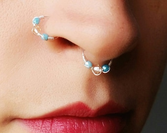 Silver Nose Ring - No Piercing Nose Ring - Faux Nose Ring Jewelry - Fake Piercing Jewelry - Fake Nose Rings - 8mm Nose Ring